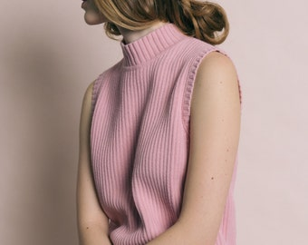 Vintage 90s Pink Cotton Knit Sleeveless Turtleneck | M
