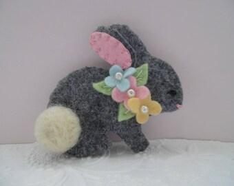 Felt Bunny Brooch Easter Flowers Pin Jewelry Felted Wool Rabbit Needle Felted