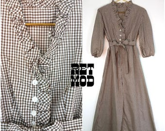 Classy Vintage 60s Brown & White Plaid Gingham Long Cotton Maxi Dress!
