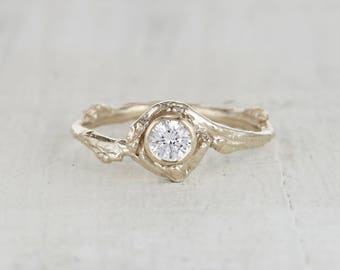 Bezel Set Twig Engagement Ring - Forever One Moissanite Ring in Yellow Gold, White Gold, Rose Gold or Platinum