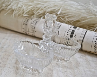 French Old Glass Condiment Server- Salt and Pepper Pot , French Faded Romance, French Dining, Vintage French Mustard Pot