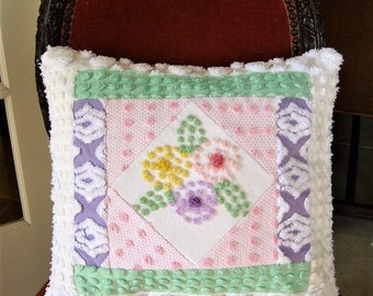 "Handmade Vintage Chenille Pillow - ""Kaleidoscope Whimsy"" -  Insert included 16"" x 16"""