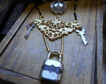 The Hope Chest Necklace Vintage Lock & Keys Golden Brass Baroque Flourish Lucite Chandelier Crystal black glass chain, OOaK Trinket necklace