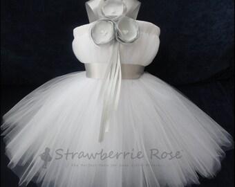 Silver and White Flower Girl Dress, Little Girls, Toddler Girls, Baby Girls, Flowergirl Dress