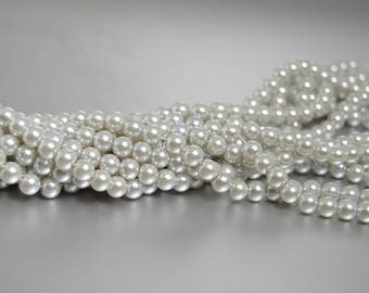 6mm Light Gray Pearl Beads Grey Pearls Loose 6mm Silver Beads