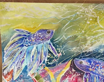 Funky Fish Watercolor Painting