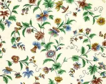 antique French chinoiserie wallpaper peony and passion flower illustration digital download