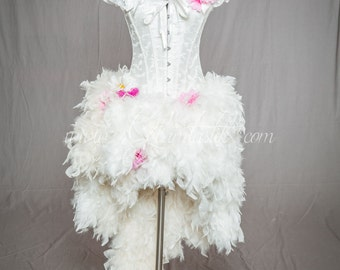 Ready to ship size small LIGHT UP Ivory and Hot Pink daisy Burlesque Corset Feather Dress short in the front long train in the back