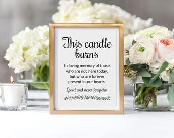 Memory Candle Sign, This Candle Burns, Memorial Candle Sign, Printable Memorial Sign, Remembrance Sign, Memorial Table, Memory Of, Rochester