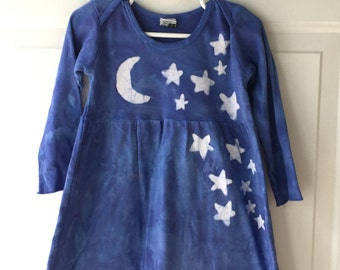 Stars and Moon Dress, Blue Girls Dress, Girls Star Dress, Girls Moon Dress, Batik Girls Dress, Long Sleeve Dress, Batik Star Dress (2T)