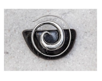 Tribal Silver Spiral Earrings, Spiral earrings, Tribal silver earrings, Bohemian earrings, Gypsy earrings, Tribal earrings