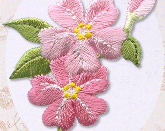 Cute Sakura Patch - Flower Embroidered Iron On Patch, Japanese Kawaii Floral Iron on Applique, Botanical, Easy Embroidery Applique, w304