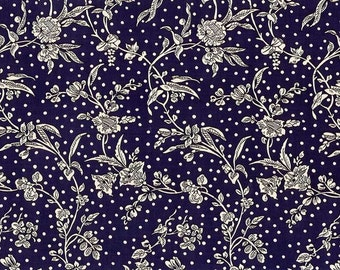 Liberty Tana Lawn Fabric, Liberty of London, Liberty Japan, Maroly Navy Blue, Cotton Floral Print Scrap, Patchwork Quilt Fabric, kt1108y