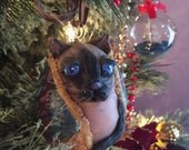 Snug Siamese Cat in Quilted Blanket Hand Blown Egg Ornament, Christmas or year-round