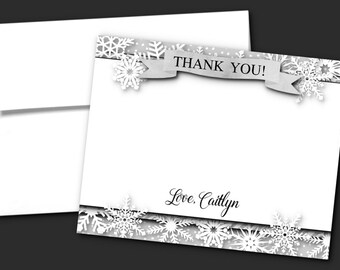 Printed Thank You Note Cards, With Envelope, Bridal Shower, Wedding, Baby Shower, Birthday, Winter Snowflakes, Silver or Gold