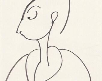 "Portrait-Line Drawing-Minimalist Art-Giclee Print of Original Illustration-8""x10""-Woman-Monochrome Black Cream-WallArt-Gift"
