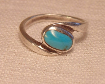 Vintage Sterling Turquoise Ring Sterling Ring Turquoise Sterling Ring Womens Ring Blue Turquoise