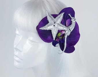 Single purple orchid hair clip with starfish and seahorse hair accessory headwear hat fascinator nautical quirky kawaii cute clip flower