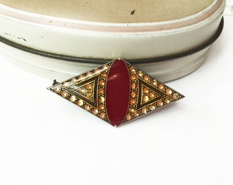 Antique Pins, Merlot and Gold, Antique Brooches, Wine Colored Jewelry, Rhinestone Brooch, Burgundy and Gold, Merlot and Gold, Vintage Brooch