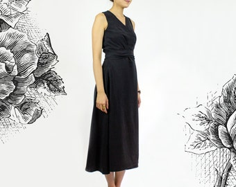 Maya Black Wrap Dress -  Sleeveless tea length LBD - Black / Moss Green Tencel dress