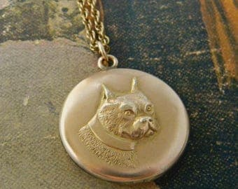 Antique Victorian Dog Locket Necklace, Gold Filled Locket, Canine Locket, Boston Terrier Dog, Repousse Locket, Round Locket, Signed W&H CO