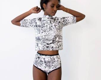 Mock Neck Crop Top - Hand Printed - Organic Cotton -  Slow Fashion - Eco Fashion - Black on White Spirit Garden - Thief and Bandit®