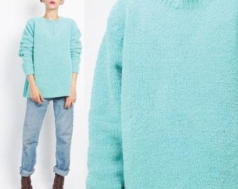 50% OFF SALE 1990s Soft Chenille Sweater Fuzzy Aqua Turquoise Sweater Bright Blue Neon Pullover Oversize Womens Knit Winter Jumper M/L E70