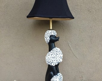 1950s ceramic poodle lamp with black silk shade, vintage table lamp, midcentury decor, 1950's kitsch, dog lover gift, Phyllis Morris style