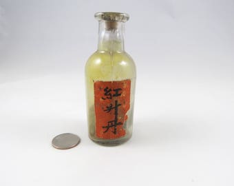 Old Chinese Apothecary Bottle with Cork Stopper, Found in Jerome, Arizona, Vintage Glass Drug Bottle, Asian Character Label, Haunted Find