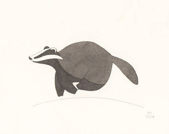 Badger - Small original illustration on paper - Limited edition (30)