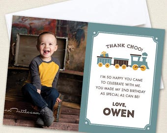 Vintage Train Photo Thank You Cards - Professionally printed *or* DIY printable