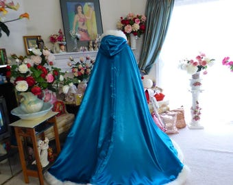 Princess Jasmine Inspired Bridal Cape Teal / Ivory Satin  52/67 inch Reversible wedding cloak Hooded with fur trim Handmade in USA