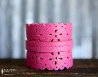 CUSTOM HANDSTAMPED CUFF - bracelet - personalized by Farmgirl Paints -  hot pink cuff with floral cutouts and scalloped edge