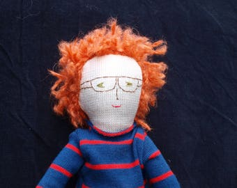 Boy fabric doll - redhair with glasses