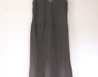 Size SMALL... 1920s Black Silk Slip... 20s Vintage Lingerie... Net Top
