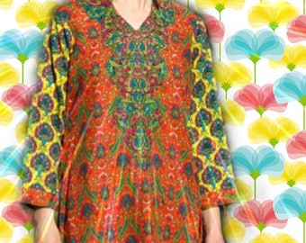 Size M/L... Vintage Indian Psychedelic Maxi Dress... Best Ever Colors and Patterns