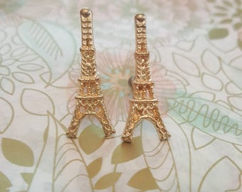 Vintage French Paris Eiffel Tower Metal Plugs Gauges Stretched Ears 10g 2.5mm p31