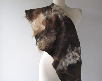 Felted Triangle scrarf Wool Scarf  baktus accessory Felted Triangle Scarf felt baktus beige brown eco fur alpaca   Ready to ship