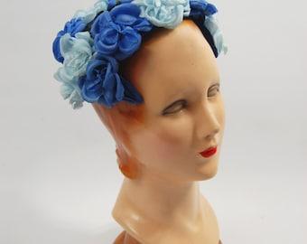 1950s Bright Blue Floral Headband Hat - 50s Blue Flower Hat // Mid 1950s Blue Flowers
