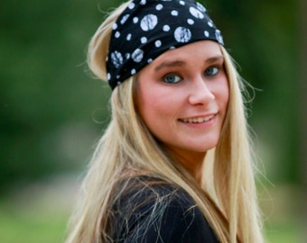 Polka Dot Headband, Black Polkadot Headwrap, Athletic Headscarf, Fun Head Wrap, Black & White Trendy Headband (#4166) S M L X