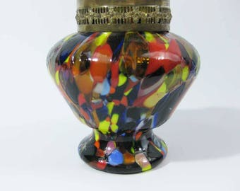 Multi Colored Art Glass Rose Bowl Jar~Vase W/Brass Band Masic
