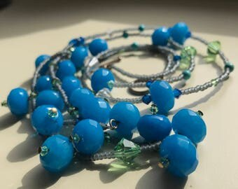 Blue Jade Long Necklace - Great gift for her!