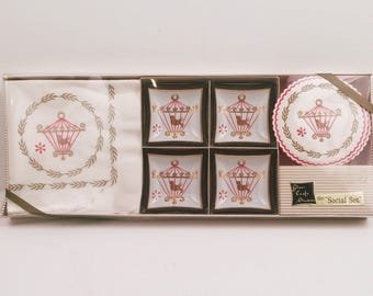Vintage 1960s Mid-Century Hostess Set  Napkins Trays Coasters Glass Craft Studios The Social Set