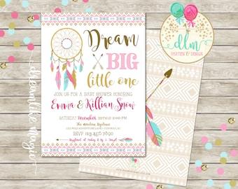 Dream Catcher Invitation, Tribal Arrow Baby Shower, Dream Big Little One, Pink Gold Blue, Printable Invite, Dreamcatcher Invite, Boho Girl