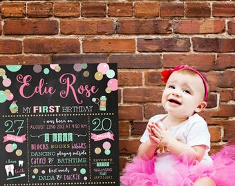 1st Birthday Chalkboard, Digital File, Birthday Stats Photo Prop, Personalized, Bubbles and Brunch, Bubbles, Mint and Gold, Bubbles Party