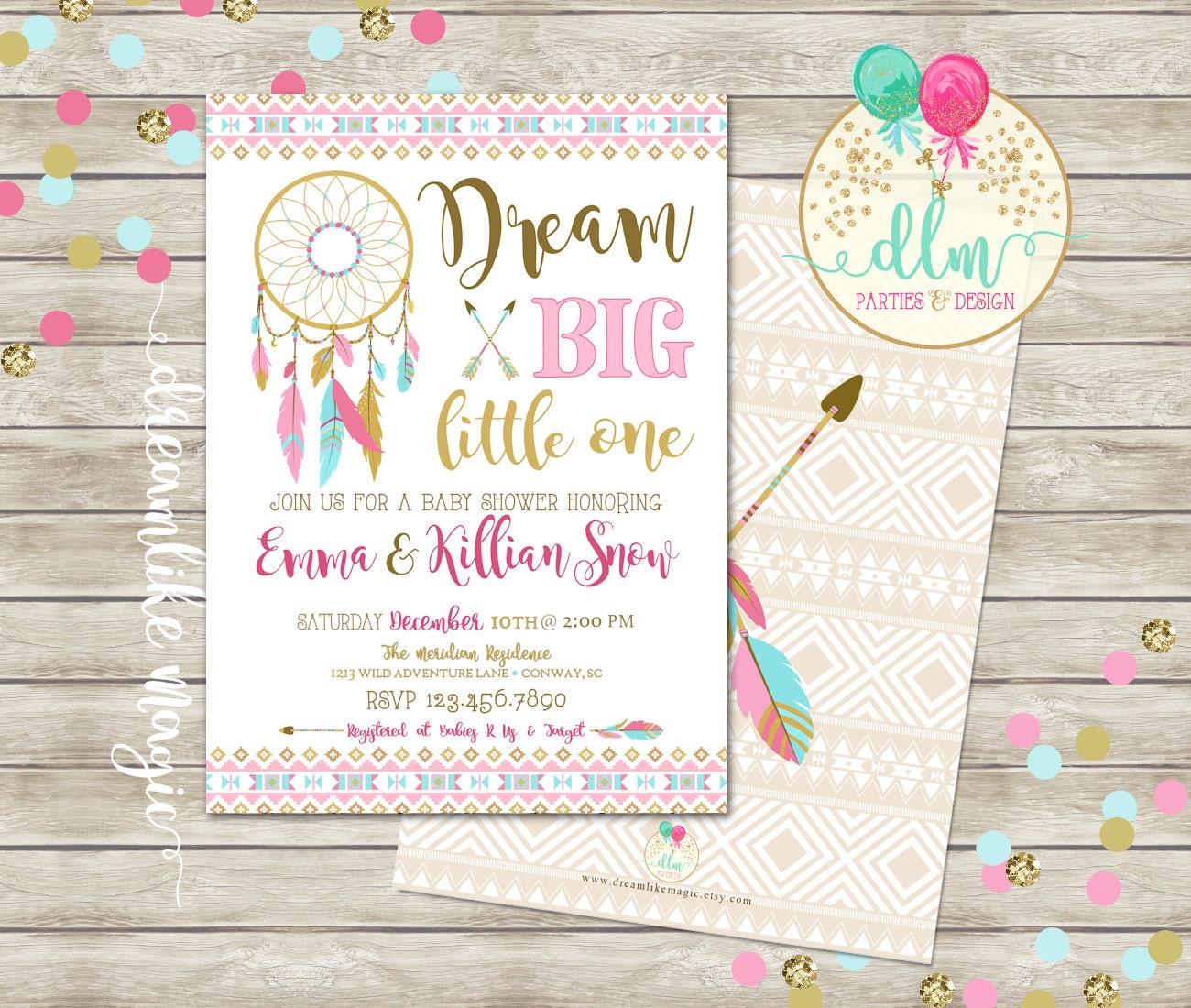 Dream Catcher Invitation Tribal Arrow Baby Shower Dream Big