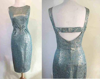 Dazzling 1960's Turquoise Lurex Brocade Designer Cocktail Dress with Matching cropped Jacket by Anita Modes