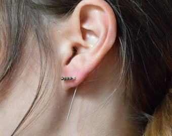 Pyrite Bar Threader Earrings in 925 Sterling Silver