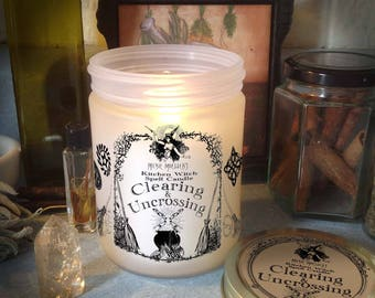 Clearing and Uncrossing Kitchen Witch Candle Jar, Herb Dressed Candle Included