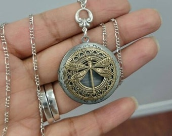 Dragonfly Locket Necklace - antique silver and brass locket.